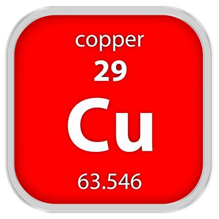 cobre: Material de cobre en la tabla periódica Foto de archivo