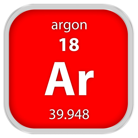 argon: Argon material on the periodic table. Part of a series. Stock Photo