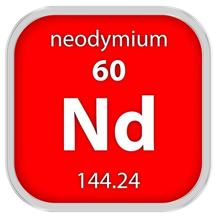 Neodymium material on the periodic table photo