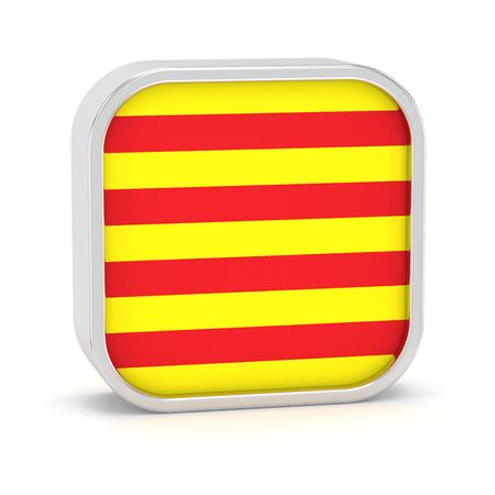 Katalonien-Flagge Schild auf einem weißen Hintergrund. Teil einer Reihe. Standard-Bild - 45966160