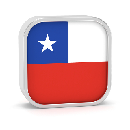 Chile Flag-Zeichen auf einem weißen Hintergrund. Teil einer Reihe. Standard-Bild - 45966187