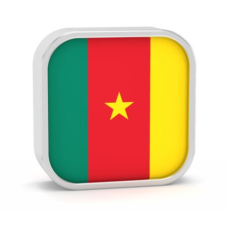 Kamerun-Flag-Zeichen auf einem weißen Hintergrund. Teil einer Reihe. Standard-Bild - 45966183