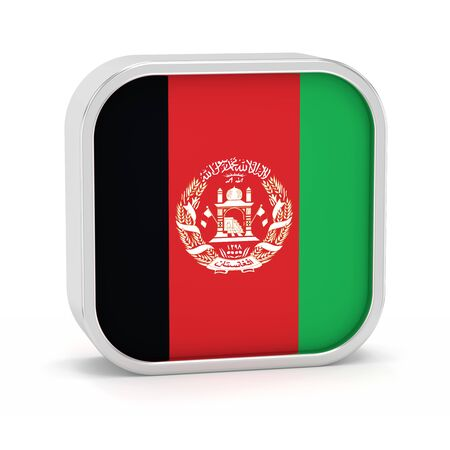Afghanistan flag sign on a white background. Part of a series.