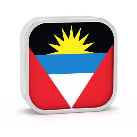 Antigua Barbuda Flag-Zeichen auf einem weißen Hintergrund. Teil einer Reihe. Standard-Bild - 45965860