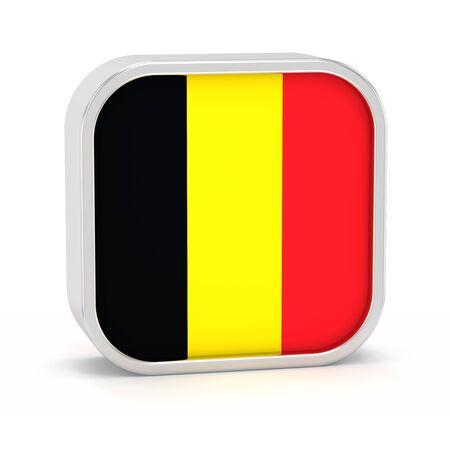 Belgien-Flagge Schild auf einem weißen Hintergrund. Teil einer Reihe. Standard-Bild - 45965873