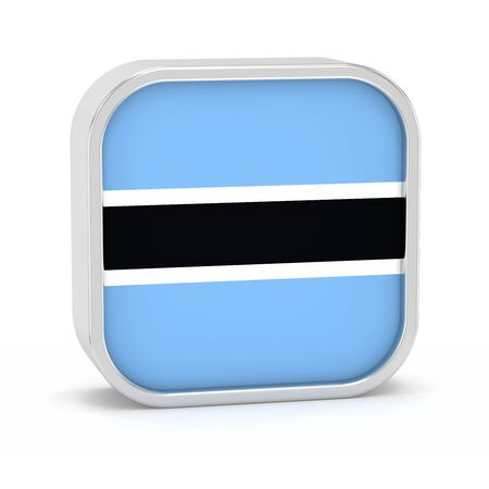 botswana: Botswana flag sign on a white background. Part of a series. Stock Photo