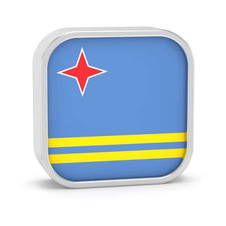 Aruba Flagge Schild auf einem weißen Hintergrund. Teil einer Reihe. Standard-Bild - 45965932