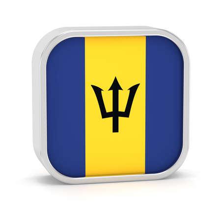Barbados Flag-Zeichen auf einem weißen Hintergrund. Teil einer Reihe. Standard-Bild - 45965946