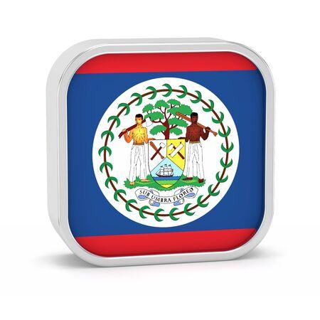 Belize Flagge Zeichen auf einem weißen Hintergrund. Teil einer Reihe. Standard-Bild - 45965942
