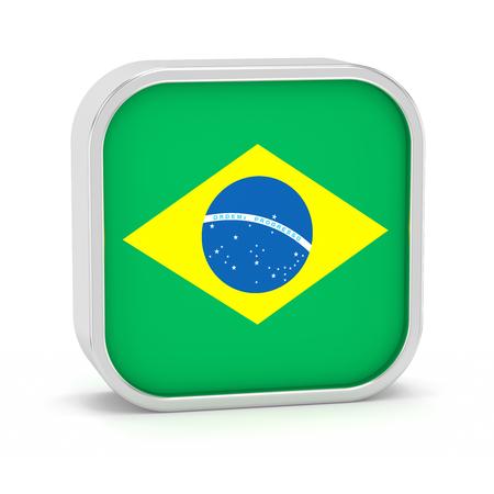 Brasilien-Flagge Schild auf einem weißen Hintergrund. Teil einer Reihe. Standard-Bild - 45965554