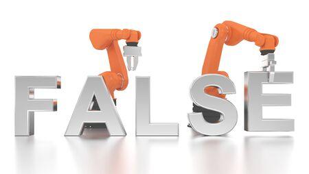Industrielle Roboterarme falsches Wort Aufbau auf weißem Hintergrund Standard-Bild - 49103010