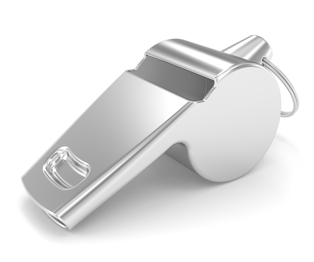 aerophone: Whistle on a white background Stock Photo
