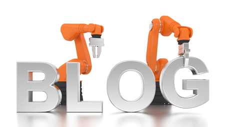 blogs: Industrial robotic arms building BLOG word on white background Stock Photo