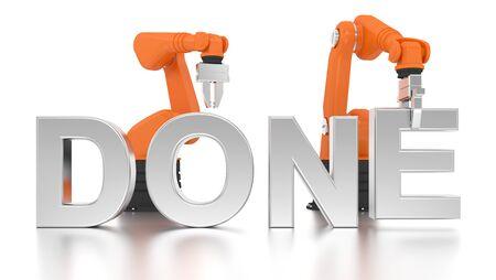 Industrielle Roboterarme Gebäude DONE Wort auf weißem Hintergrund Standard-Bild - 50969598