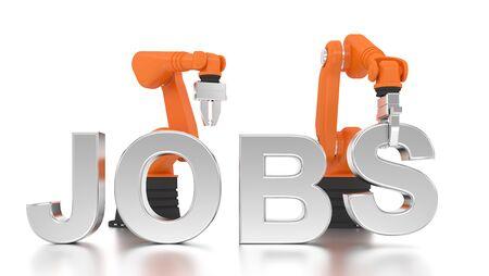 Industrielle Roboterarme Gebäude JOBS Wort auf weißem Hintergrund Standard-Bild - 50969603