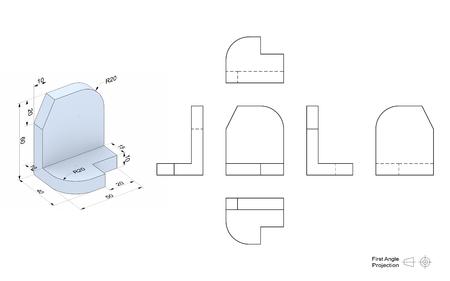 Technische Zeichnung eines 3D-Modells mit einer Perspektive und orthogonale Ansichten. Erste Winkelprojektion Verfahren. Teil einer Reihe. Standard-Bild - 57076542