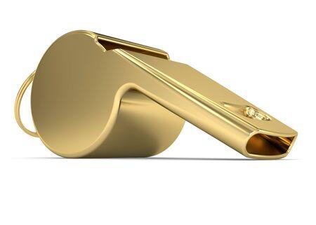 aerophone: Golden Whistle on a white background Stock Photo