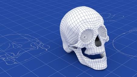 3D-Schädel, der einen Entwurf Netz über. Teil einer Reihe. Standard-Bild - 71831632