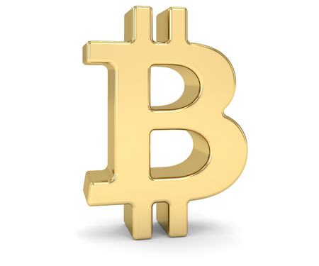 Golden bitcoin sign over a white background. Part of a series. Stock Photo