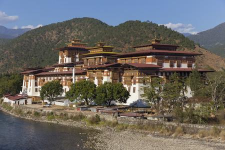 Punakha Dzong  Palace of Great Happiness , Bhutan Stock Photo