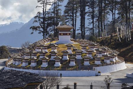 stupas at dochula pass, bhutan Stock Photo