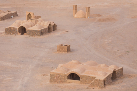 iran: View to the Zoroastrian temples ruins from the Tower of Silence in Yazd Iran. Stock Photo