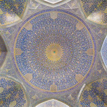 Imam Mosque (Masjed-e Imam) at Naghsh-e Jahan Square in Isfahan, Iran. Imam mosque is known as Shah Mosque. Its construction finished in 1629.