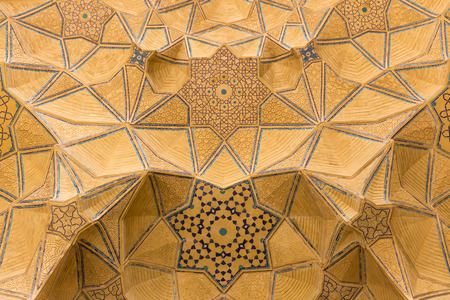 iran: Mosaic of the Jameh Mosque of Isfahan, Iran. This mosque is UNESCO World Heritage site