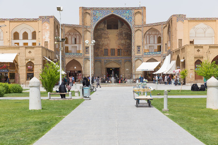 safavid: The Imperial Bazaar of Isfahan in Naqsh-e Jahan Square, a historical market and one of the oldest and largest bazaars of the Middle East.