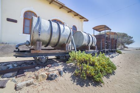 luderitz: Abandoned train in the ghost town of Kolmanskop, near Luderitz, Namibia
