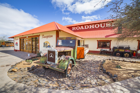 vintage truck: FISH RIVER CANYON, NAMIBIA - SEPTEMBER 01, 2015: Vintage truck in front of the Lodge Canyon Roadhouse, Fish River Canyon, Namibia