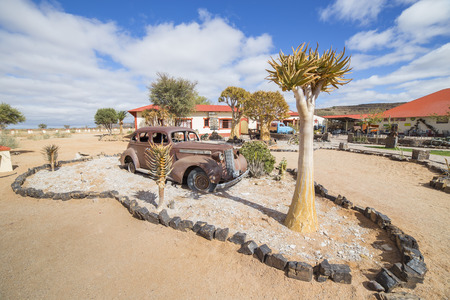 FISH RIVER CANYON, NAMIBIA - SEPTEMBER 01, 2015: Vintage car in front of the Lodge Canyon Roadhouse, Fish River Canyon, Namibia