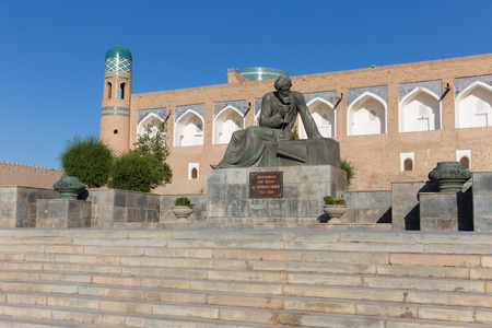 Statue of the great mathematician, astronomer and geographer Muhammad ibn Muso al-Khorazmiy, in Khiva, Uzbekistan