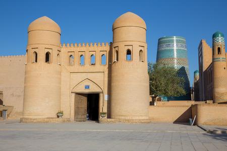 The twin-turreted West Gate of Khiva, Uzbekistan