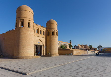 The twin-turreted West Gate of Khiva, Uzbekistan