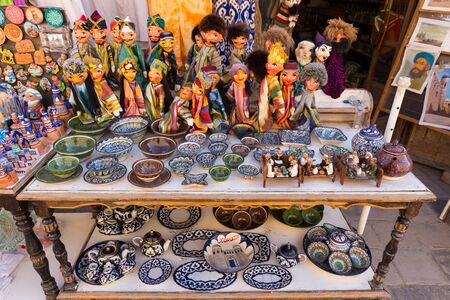puppets: Pottery and puppets typical of Khiva, in Uzbekistan Stock Photo