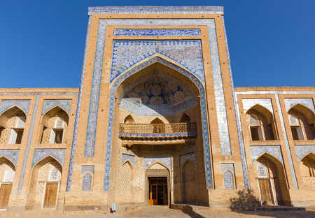 The madrassah of Muhammad Rahim-khan, located opposite the gates of Kunya-Ark, in Khiva, Uzbekistan. The madrassah is one of the biggest in Ichon-Qala, the old town of Khiva. It was constructed in 1876.
