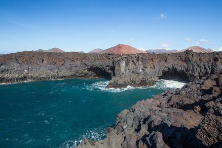 los hervideros: LANZAROTE, SPAIN - NOVEMBER 28, 2016: Los Hervideros, in Lanzarote, Canary Islands, Spain