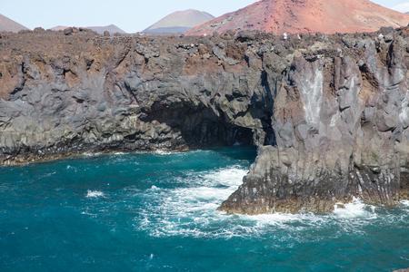 lanzarote: LANZAROTE, SPAIN - NOVEMBER 28, 2016: Los Hervideros, in Lanzarote, Canary Islands, Spain