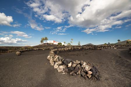 ラ ゲリアのビュー、ランサローテ島の有名な農法地域およびその三日月の形をした石造りの壁、zocos、として知られている暗い地球、カナリア諸島