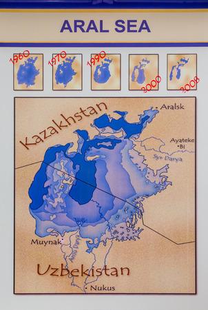 uzbekistan: BUKHARA, UZBEKISTAN - AUGUST 26, 2016: historical map of the Aral Sea, from 1960 to today, in Bukhara, Uzbekistan