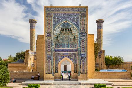 SAMARKAND, UZBEKISTAN - AUGUST 28, 2016: Gur-E Amir Mausoleum, the tomb of the Asian conqueror Tamerlane or Timur, in Samarkand, Uzbekistan
