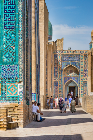 SAMARKAND, UZBEKISTAN - AUGUST 29, 2016: Shah-i-Zinda, the Tomb of the Living King, a stunning avenue of mausoleums in Samarkand, Uzbekistan Editorial