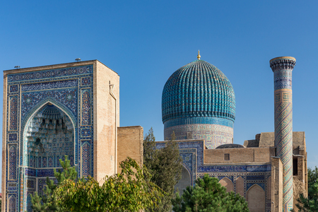 Gur-E Amir Mausoleum, the tomb of the Asian conqueror Tamerlane or Timur, in Samarkand, Uzbekistan Imagens
