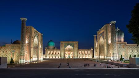 SAMARKAND, UZBEKISTAN - AUGUST 29, 2016: the Registan at night in Samarkand, Uzbekistan Editorial