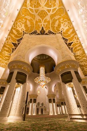 ABU DHABI, UAE - DECEMBER 02, 2017: Interior of the Sheikh Zayed Grand Mosque in Abu Dhabi, UAE Editorial