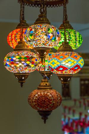 Beautiful Arabian lamps at ancient souk of Nizwa, in Oman Фото со стока