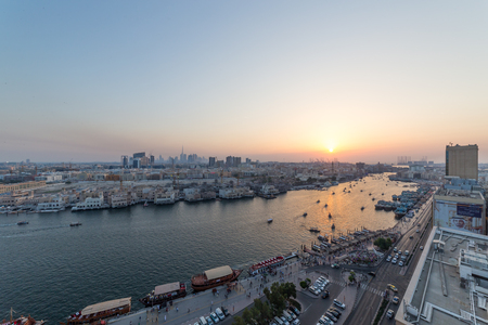 Panoramic view of Dubai from the top of a Deira skyscraper