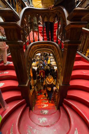 PORTO, PORTUGAL - FEBRUARY 27, 2017: Looking the stairs inside Lello Bookstore, famous book shop in Porto, Portugal