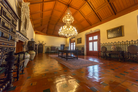 SINTRA, PORTUGAL - MARCH 01, 2017: Manueline Hall of the National Palace of Sintra, Lisbon District, Portugal.